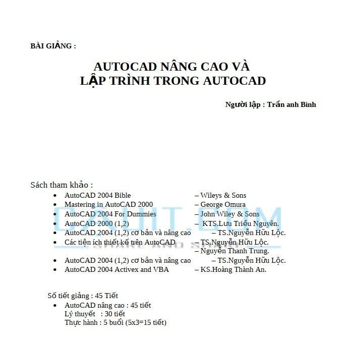 Tài liệu học AutoCAD nâng cao